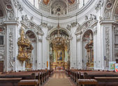 VIENNA, AUSTRIA - FEBRUARY 17, 2014: Nave of baroque Servitenkirche - church completed in 1670. — Stock Photo
