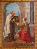 VIENNA, AUSTRIA - FEBRUARY 17, 2014: Fresco of hl. Simon Stock by Josef Kastner 1906 - 1911 in Carmelites church in Dobling. — Stock Photo