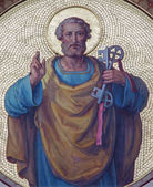 VIENNA, AUSTRIA - JULY 27, 2013: Fresco of st. Peter the apostle from begin of 20. cent. by Josef Kastner from Carmelites church in Dobling — Stock Photo