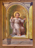 VIENNA, AUSTRIA - FEBRUARY 17, 2014: Fresco of scene - little Jesus from tabernacle in the bond as symbolo of eucharist by Josef Kastner 1906 - 1911 in Carmelites church in Dobling. — Stock Photo