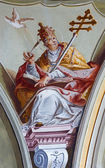 SAINT ANTON, SLOVAKIA - FEBRUARY 26, 2014: Fresco of saint Gregorius the pope big teacher of west church from ceiling of chapel in Saint Anton palace by Anton Schmidt from years 1750 - 1752. — Stock Photo