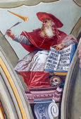 SAINT ANTON, SLOVAKIA - FEBRUARY 26, 2014: Fresco of saint Hieronymus big teacher of west church from ceiling of chapel in Saint Anton palace by Anton Schmidt from years 1750 - 1752. — Stock Photo