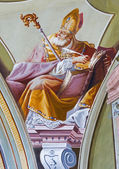 SAINT ANTON, SLOVAKIA - FEBRUARY 26, 2014: Fresco of saint Ambrosius big teacher of west church from ceiling of chapel in Saint Anton palace by Anton Schmidt from years 1750 - 1752. — Stock Photo