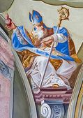 SAINT ANTON, SLOVAKIA - FEBRUARY 26, 2014: Fresco of saint Augustine big teacher of west church from ceiling of chapel in Saint Anton palace by Anton Schmidt from years 1750 - 1752. — Stock Photo