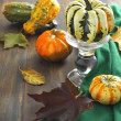 Autumn pumpkins and autumn leaves — Stock Photo #13264147