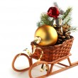Christmas decoration sledge — Stock Photo