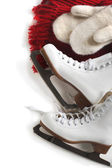 Skates, scarf and mittens — Stock Photo