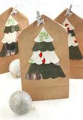 Christmas gift paper bag — Stock Photo