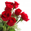 Red roses bouquet on white background — Stok fotoğraf