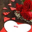 Stock Photo: Valentines gift box and bouquet of roses