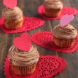 Valentine chocolate cupcake — Stock Photo #18694577