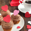 Valentine chocolate cupcake — Stock Photo