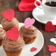 Stock Photo: Valentine chocolate cupcake
