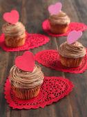 Valentine chocolate cupcake — Photo