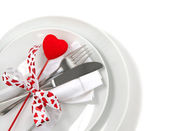 Table place setting for Valentine — Stock Photo