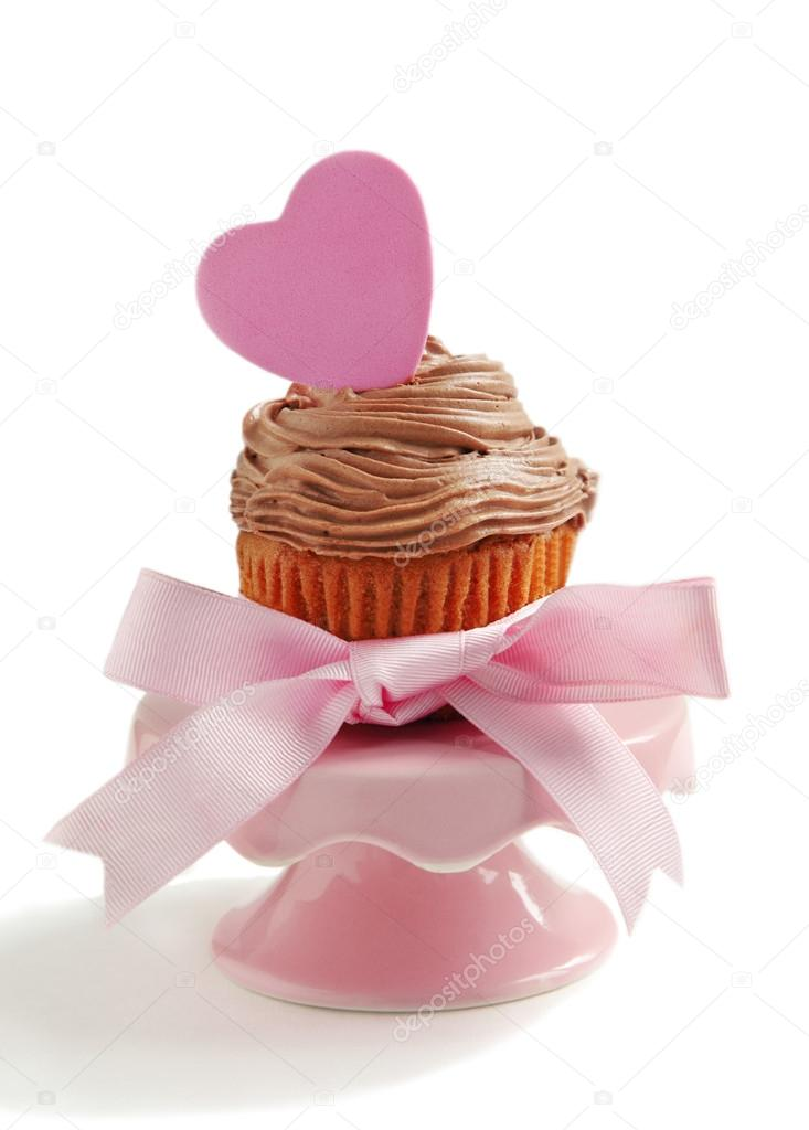 Valentine cupcake on white background  Stock Photo #18732091