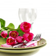 Spring table setting with tulips — Stock Photo #20037163