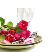 Spring table setting with tulips — Stock Photo