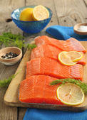 Salmon Slices with Dill and Lemon — Stock Photo