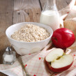 Cooking the Apple-cinnamon oatmeal — Stock Photo
