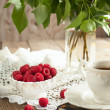 Still life with raspberries. — Stock Photo