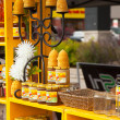 Assortment of honey and beeswax products. Farmers market.  — Foto de Stock