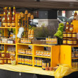 Assortment of honey and beeswax products. Farmers market. — Foto Stock
