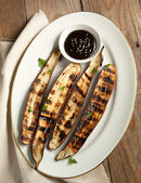Grilled Asian long eggplant with Hoisin sauce — Stock Photo