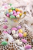 Jordan Almond Candies in cup — Stock Photo