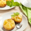 Individual pineapple upside-down cakes. Selective focus — Stock Photo