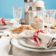 Summer table setting decorated with starfish and sea shell — Stock Photo #28243809