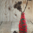 Christmas Composition with pine cones on the branch  — Stok fotoğraf