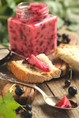 Black currant jam. Selective focus — Stockfoto