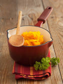 Pumpkin puree. Selective focus — Stock Photo