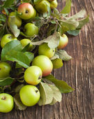 Organic Apples with leaves on wooden background — Stock Photo