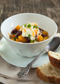 Black Bean Chili with Fall Vegetables — Stock Photo