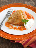 Stuffed cabbage rolls with cream — 图库照片