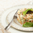 Russian traditional salad Olivier. Selective focus — Stock Photo