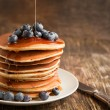 Stack of pancakes with fresh blueberry and maple syrup — Stock Photo #31165705