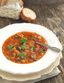 Eggplant soup with lentils — Stock Photo