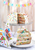 Vanilla Sprinkles Cake. Selective focus — Stock Photo