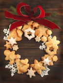 Christmas cookies wreath — Foto Stock