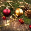 Christmas composition with Christmas decoration — Stock Photo