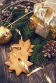 Christmas composition with cookies and Christmas decoration — Foto Stock