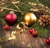 Kerstmis samenstelling met decoratie van kerstmis — Stockfoto