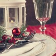 Stock Photo: Christmas table setting, toned. Selective focus.