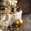 Christmas composition with Christmas gift and decoration — Stock Photo