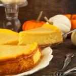 Pumpkin cheesecake with caramel — Stock Photo #33819343