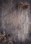 Rustic wood background with pine cones — Stock Photo