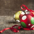 Christmas ball on wooden background — Stock Photo